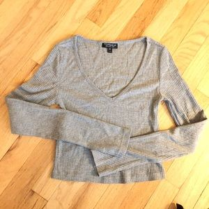 Topshop Grey Longsleeve Crop Top
